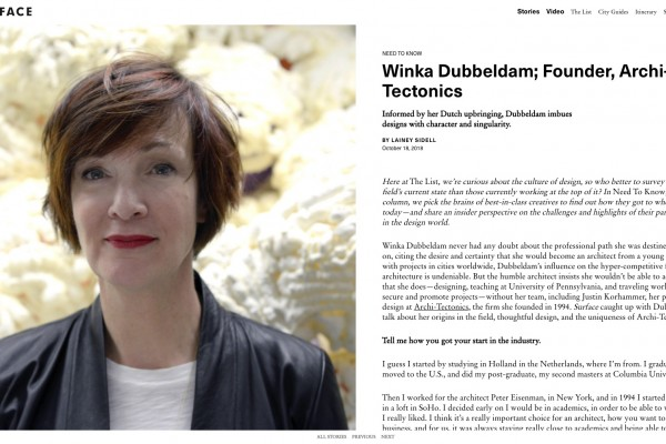 SURFACE The List Interview with Winka Dubbeldam