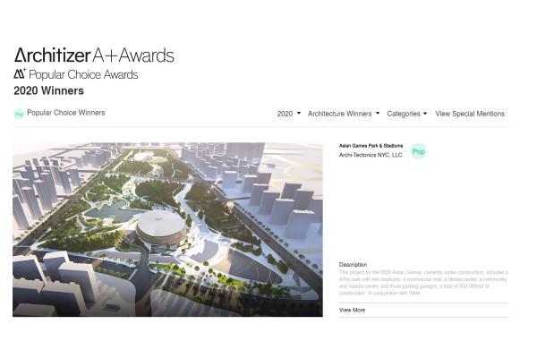 Asian Games Park & Stadiums wins Architizer A+ Popular Choice Award!