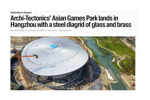 The Architect's Newspaper writes on facade innovation as being built in Asian Games 2022!